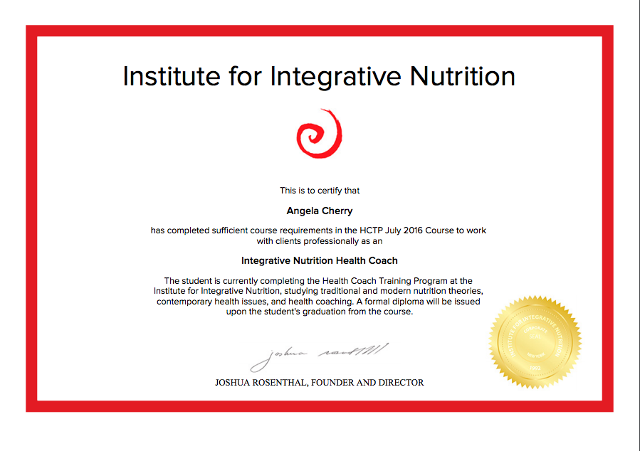 Angie Cherry, Graduate of Institute of Integrative Nutrition